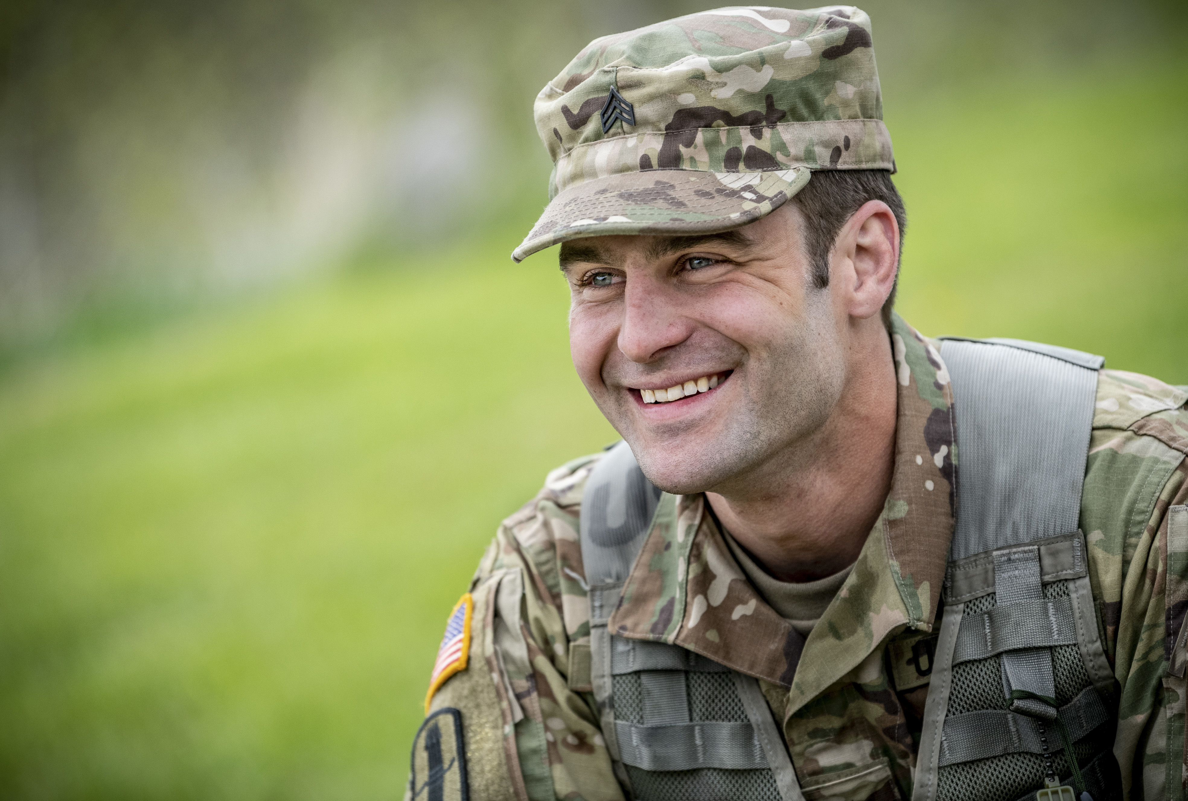 Army national Guard member smiling