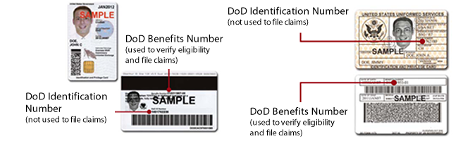 Sample ID Card and CAC (front and back of both) showing placement of the DoD Benefits Number (used to verify eligibility and file claims) and the DoD Identification Number (which replaced SSNs on the cards--not used to file claims).