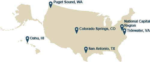 Map of the U.S. depicting the locations of each of the enhanced multi-service markets: Pugent Sound, WA; Oahu, HI; Colorado Springs, CO; San Antonio, TX; National Captial Region and Tidewater, VA