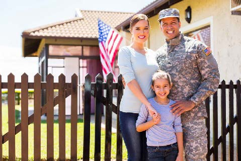 Military family outside of home